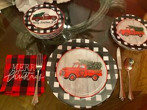 RED TRUCK Melamine DISHES-dinner plate/bread plate/salad bowl/placemat-6 left