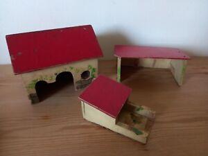 Vintage  Wooden Toy Farm Yard house , Buildings ect .. Handmade.x3  job lot