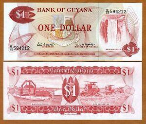 Guyana, 1 dollar, ND (1989), P-21f, UNC > Waterfall, Combine Harvesters
