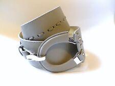 CEINTURE large en simili cuir gris grosse boucle, réglable T.2 - NEUF