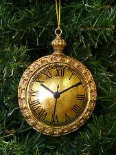 ANTIQUE GOLD RESIN JUMBO POCKET WATCH CHRISTMAS TREE ORNAMENT