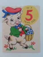 Vtg 5th BIRTHDAY ANTHRO Pop Up PIG w PINK Ribbon Tail 1940-50s GREETING CARD