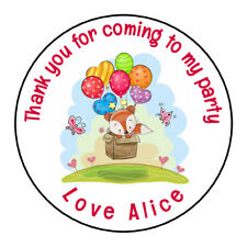 Personalised Woodland Birthday Fox Party Stickers Thank you for Sweet Cones Gift