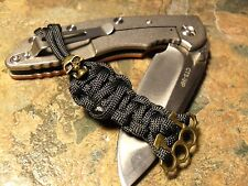 BLACK 550 PARACORD KNIFE LANYARD BRONZE SKULL BRASS KNUCKLE AMERICAN MADE