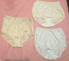 Vtg Lot of 3 Nylon Granny Panties Lace Insert Shadowline Vanity Fair Size 8