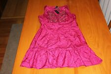 WHITE HOUSE BLACK MARKET PINK SEQUIN TOP BELTED RUFFLE BOTTOM DRESS WOMEN'S XS