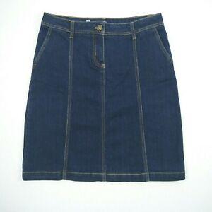 Denim Essentials Knee Length Paneled Blue Stretch Skirt Women's Size 12 W32