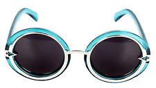 FreshGadgetz Women's Clear Blue Metal Arrow Round Frame Polarized Sunglasses