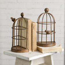 "Bird Cage With Bird Metal Bookends Rustic Brown 10"" H Office Children's Room"