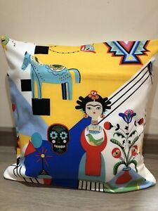 "18"" Sq Cushion Cover in Cotton Fabric 'Frida Carita' Blue Or Green"