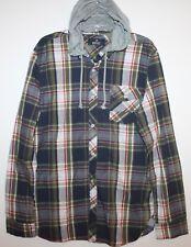 Buffalo David Bitton Mens Blue Green Plaid Button-Front Hoodie Shirt NWT $89 L