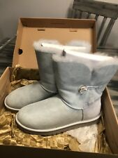 UGG Classic Short Bailey Button Bling Blue Suede Fur Boots Size 9 Womens