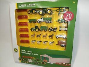 John Deere Farm Ranch Animals Horses Cows Trucks Tractors Barn Toy Playset 70pc