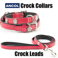 Ancol Collar Puppy Lead Set Match Sparkly Paw Crock Dog Diamante Paw Bling Pink