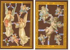 Vintage Angel Scrap Reliefs Decoupage Victorian 2 Sheet Scrapbooking Crafts 1987