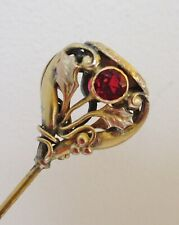 Antique Hatpin Red Glass Holly Leaves Blank Escutcheon