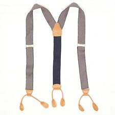 Briar Mens Braces Suspenders Black Gray Woven Tan Leather Button Tabs