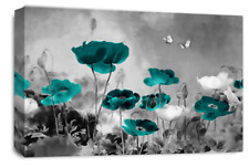 Le Reve Floral Poppy Wall Art Teal Red Grey White Canvas Flowers Panel Set 1