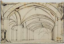 DISEGNO DRAWING 1800 CHINA e MATITA SU CARTONCINO Interno Architettura