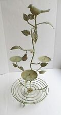 "Green Metal Rustic Bird Pear Tree Branch Pillar Candle Holder Basket 26"""