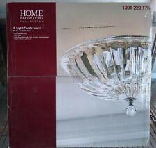 Vintage Collection 3-Bulb Chrome Flush Mount Ceiling Light Fixtrue Crystal Glass