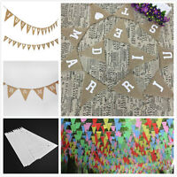 Mr Mrs & Just Married Hessian Burlap Banner Rustic Wedding Bunting Party Decor