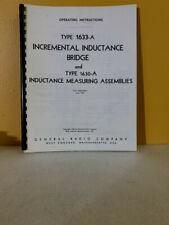 General Radio Gr 1633 A Bridge Amp Gr 1630 A Inductance Measuring Assembly Manual