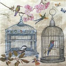 2 Paper Napkins Decoupage Bird Cages Floral Craft Beverage Mesafina