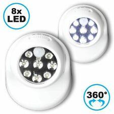 Nachtlicht 8 LED Bewegungsmelder 360° drehbar Lichtsensor Abschaltautomatik Weiß