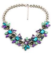 Designer inspired style Blue Purple Grey Crystal Statement choker Necklace