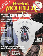 Fine Scale Modeler Feb.1987 Tank TRIM Neptune Stealth Fighter AP-2H Gunship