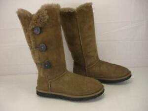 Womens 9 M UGG Bailey Button Triplet II Sheepskin Shearling Boots Tall Chocolate