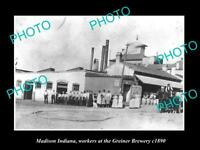 OLD LARGE HISTORIC PHOTO OF MADISON INDIANA, VIEW OF THE GREINER BREWERY c1890
