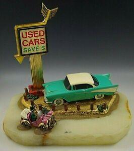 RON LEE VINTAGE 1989 USED CARS DEALER SIGN 57 CHEVY CAR & CLOWN LARGE SCULPTURE