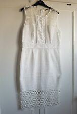LADIES M & S WINTER WHITE FULLY LINED DRESS NEW 50.00 SIZE 14. REG RRP 79.00