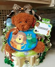 Jungle Theme Unisex  One Tier Diaper Cake Gift Basket -Made To Order