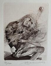 Karel DEMEL Czech Surreal Sex exlibris Erotic Yin Yang Copper Engraving C2 C4 C7