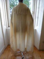 Nice Original Vintage 1920s 30s  Art Deco Fringed Fine Wool Cream Shawl