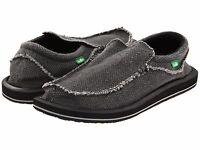 Men's Shoes Sanuk Chiba Slip On Sidewalk Surfers SMF1047 Black *New*