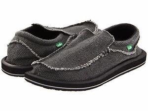 Men's Shoes Sanuk CHIBA Slip On Sidewalk Surfers Loafers SMF1047 BLACK