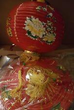 Lot de 2 Lanternes chinoise papier rouge doré fleurs