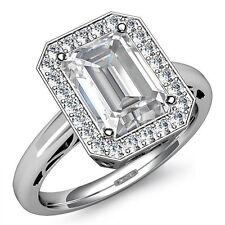 Elegante Anillo Compromiso Diamante Esmeralda Certificado de GIA i SI1 Platino