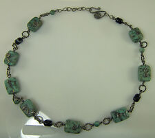 """ARTISAN STERLING SILVER & STONE 22-24"""" NECKLACE HAND MADE LINKS & CLASP NEW"""