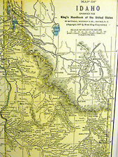 Map of IDAHO from the King's Handbook of the United States 1892 Matted
