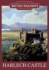 Harlech Castle Vintage British Railways Poster (repro) - Seaside / Landmark A4
