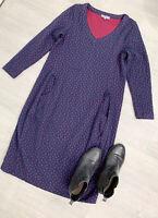 Sahara Long Sleeve Dress Navy Blue Raspberry Spot Size Medium Pockets Largenlook