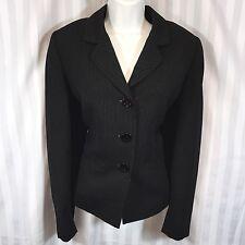TAHARI ARTHUR S. LEVINE Sz 8 Black Pinstriped Fitted Blazer