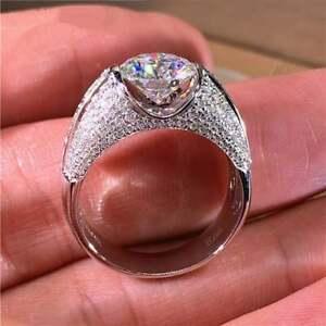 Princess White Gold Filled Natural 2.2Carat Round Cut Gemstone Paved Ring Size 7