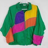 Vintage Laura Katherine 90s Color Block Windbreaker Jacket 22W Green Yellow