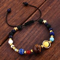 Fashion Solar System Universe Galaxy Planets Reiki Natural Stone Beads Bracelet